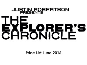 Justin Robertson presents 'The Explorer's Chronicle' June 2016 catalogue